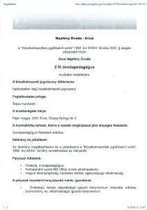 thumbnail of Álláshirdetés Ercsi Napfény Óvoda
